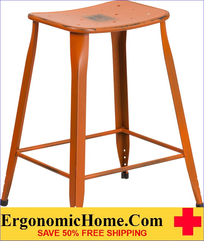ERGONOMIC HOME 24'' High Distressed Orange Metal Indoor-Outdoor Counter Height Stool <b><font color=green>50% Off Read More Below...</font></b>