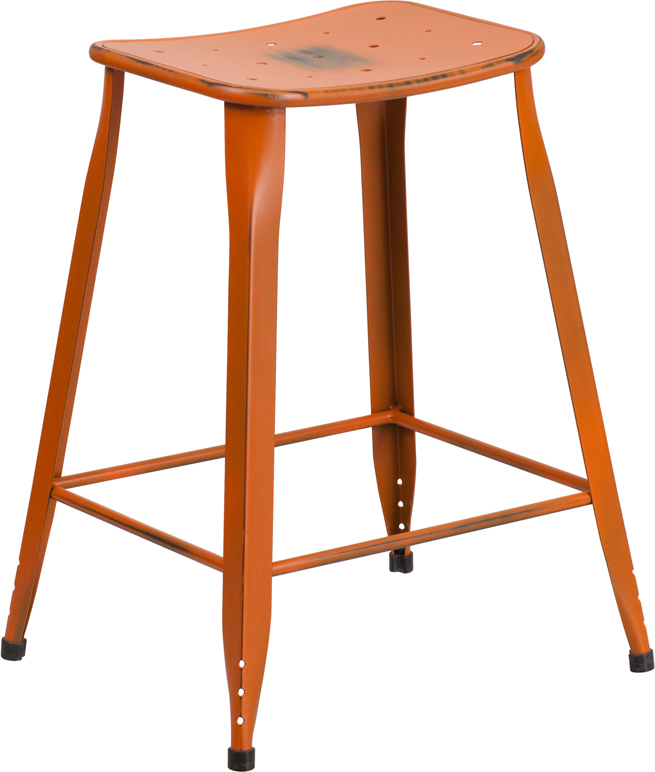 ERGONOMIC HOME 24'' High Distressed Orange Metal Indoor-Outdoor Counter Height Stool