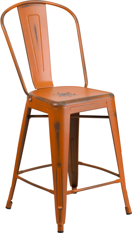 ERGONOMIC HOME 24'' High Distressed Orange Metal Indoor-Outdoor Counter Height Stool with Back