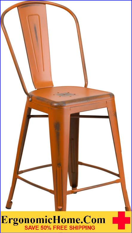 ERGONOMIC HOME 24'' High Distressed Orange Metal Indoor-Outdoor Counter Height Stool with Back  <b><font color=green>50% Off Read More Below...</font></b></font></b>