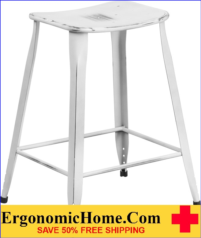 ERGONOMIC HOME 24'' High Distressed White Metal Indoor-Outdoor Counter Height Stool <b><font color=green>50% Off Read More Below...</font></b></font></b>