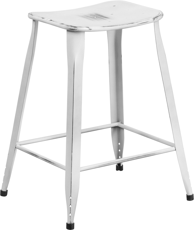 ERGONOMIC HOME 24'' High Distressed White Metal Indoor-Outdoor Counter Height Stool