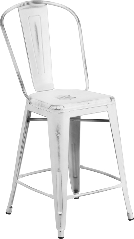 ERGONOMIC HOME 24'' High Distressed White Metal Indoor-Outdoor Counter Height Stool with Back