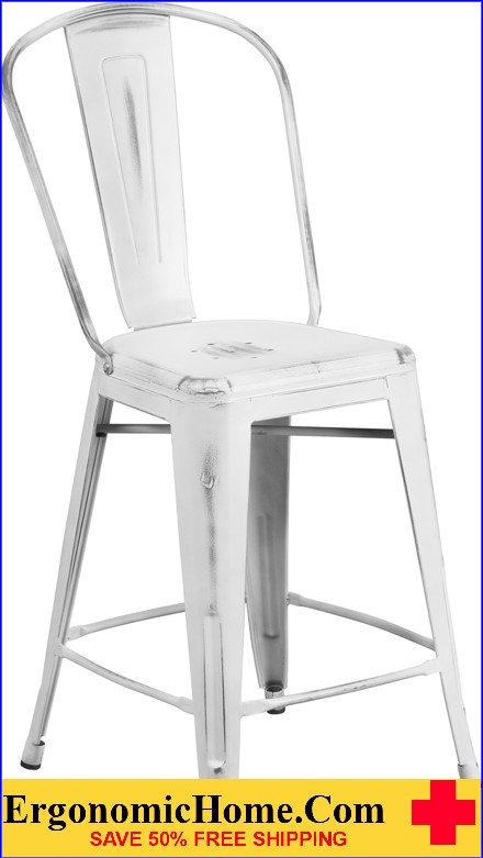 ERGONOMIC HOME 24'' High Distressed White Metal Indoor-Outdoor Counter Height Stool with Back  <b><font color=green>50% Off Read More Below...</font></b></font></b>