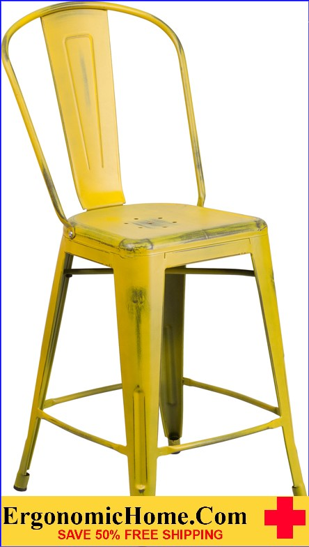 ERGONOMIC HOME 24'' High Distressed Yellow Metal Indoor-Outdoor Counter Height Stool with Back  <b><font color=green>50% Off Read More Below...</font></b></font></b>