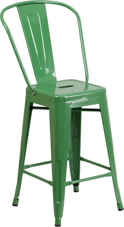 ERGONOMIC HOME 24'' High Green Metal Indoor-Outdoor Counter Height Stool with Back