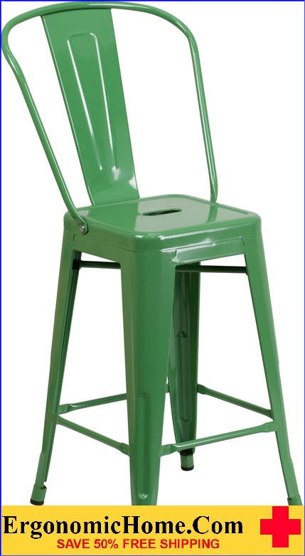 ERGONOMIC HOME 24'' High Green Metal Indoor-Outdoor Counter Height Stool with Back  | <b><font color=green>50% Off Read More Below...</font></b>