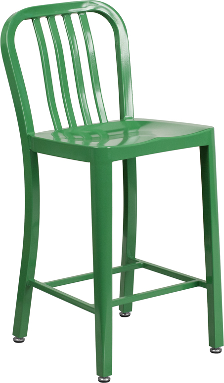 ERGONOMIC HOME 24'' High Green Metal Indoor-Outdoor Counter Height Stool with Vertical Slat Back