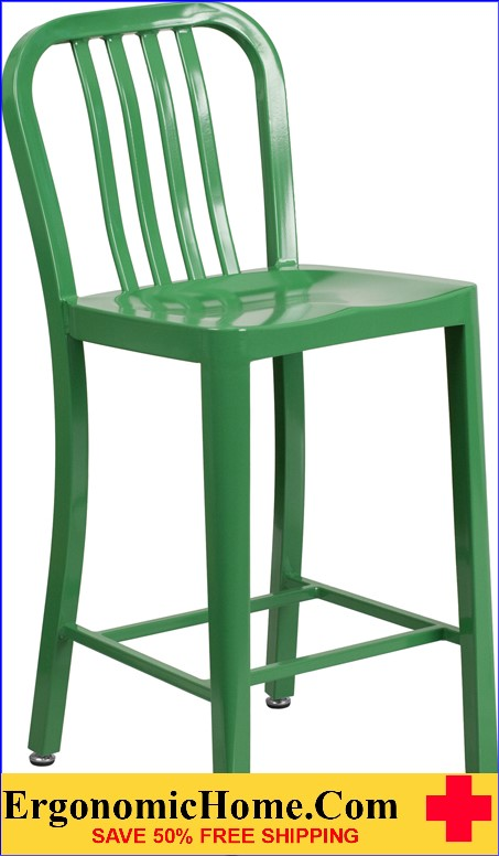 ERGONOMIC HOME 24'' High Green Metal Indoor-Outdoor Counter Height Stool with Vertical Slat Back|<b><font color=green>50% Off Read More Below...</font></b></font></b>