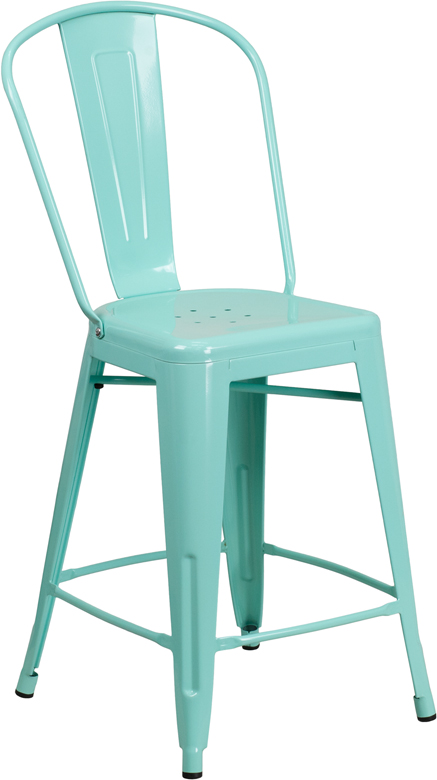 ERGONOMIC HOME 24'' High Mint Green Metal Indoor-Outdoor Counter Height Stool with Back