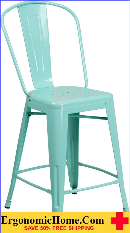 ERGONOMIC HOME 24'' High Mint Green Metal Indoor-Outdoor Counter Height Stool with Back <b><font color=green>50% Off Read More Below...</font></b></font></b>