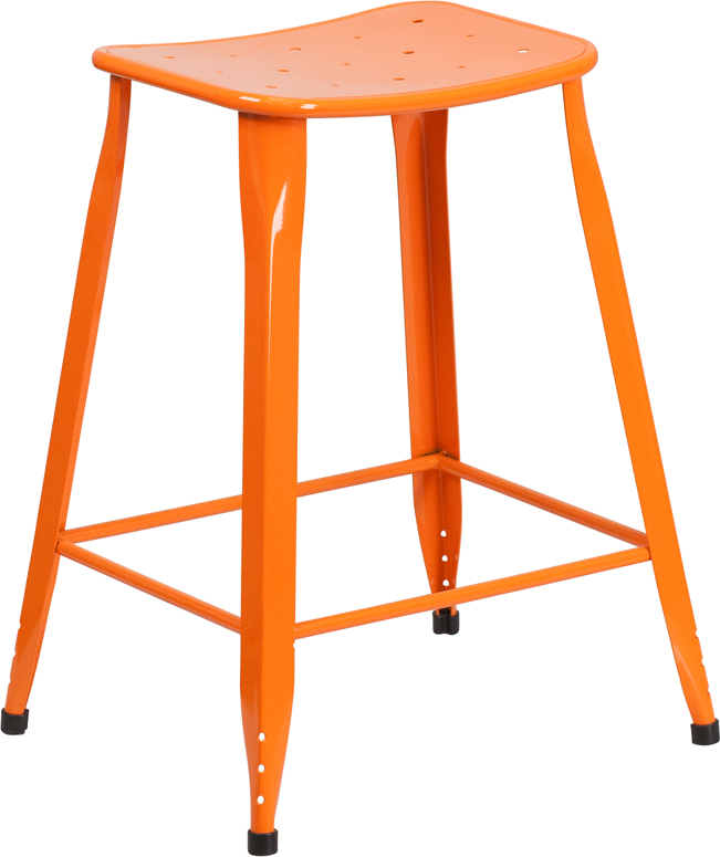 ERGONOMIC HOME 24'' High Orange Metal Indoor-Outdoor Counter Height Stool