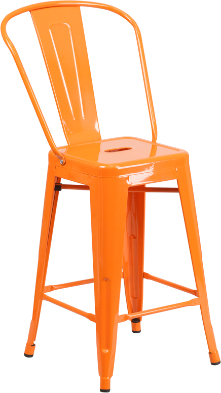 ERGONOMIC HOME 24'' High Orange Metal Indoor-Outdoor Counter Height Stool with Back