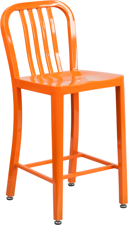 ERGONOMIC HOME 24'' High Orange Metal Indoor-Outdoor Counter Height Stool with Vertical Slat Back