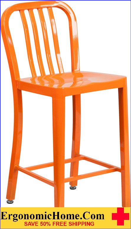 ERGONOMIC HOME 24'' High Orange Metal Indoor-Outdoor Counter Height Stool with Vertical Slat Back  | <b><font color=green>50% Off Read More Below...</font></b>