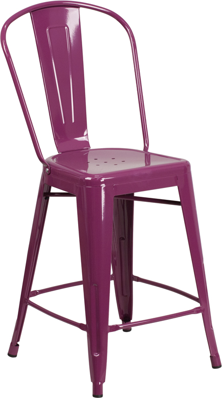 ERGONOMIC HOME 24'' High Purple Metal Indoor-Outdoor Counter Height Stool with Back