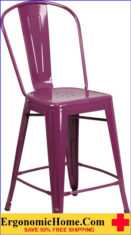 ERGONOMIC HOME 24'' High Purple Metal Indoor-Outdoor Counter Height Stool with Back  <b><font color=green>50% Off Read More Below...</font></b>