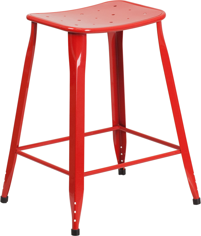 ERGONOMIC HOME 24'' High Red Metal Indoor-Outdoor Counter Height Stool