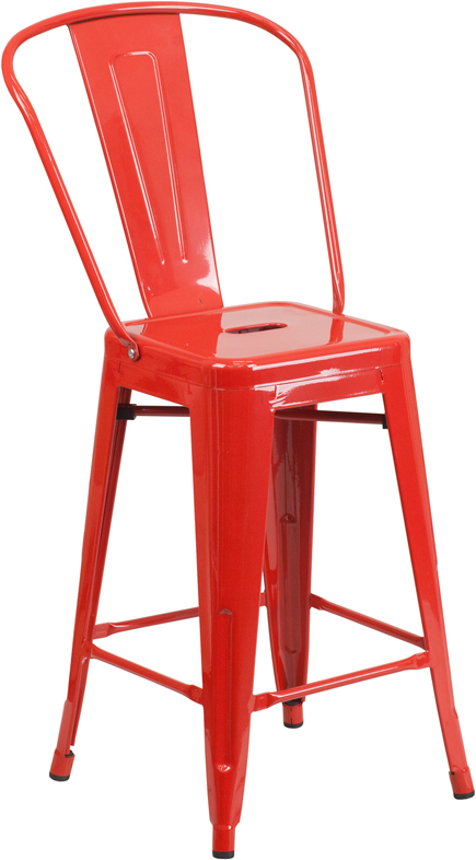 ERGONOMIC HOME 24'' High Red Metal Indoor-Outdoor Counter Height Stool with Back
