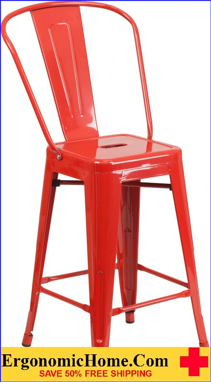 ERGONOMIC HOME 24'' High Red Metal Indoor-Outdoor Counter Height Stool with Back  | <b><font color=green>50% Off Read More Below...</font></b>