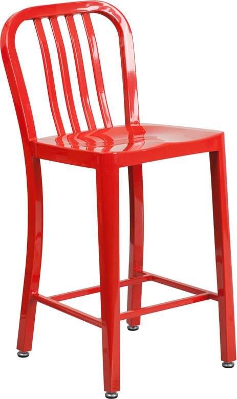 ERGONOMIC HOME 24'' High Red Metal Indoor-Outdoor Counter Height Stool with Vertical Slat Back
