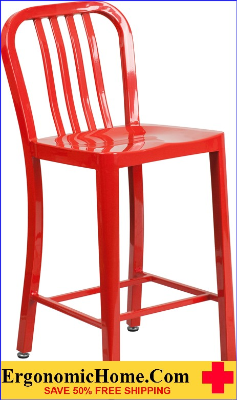 ERGONOMIC HOME 24'' High Red Metal Indoor-Outdoor Counter Height Stool with Vertical Slat Back  | <b><font color=green>50% Off Read More Below...</font></b>