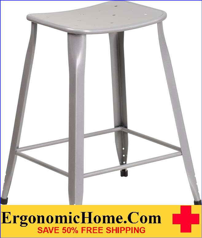 ERGONOMIC HOME 24'' High Silver Metal Indoor-Outdoor Counter Height Stool <b><font color=green>50% Off Read More Below...</font></b>