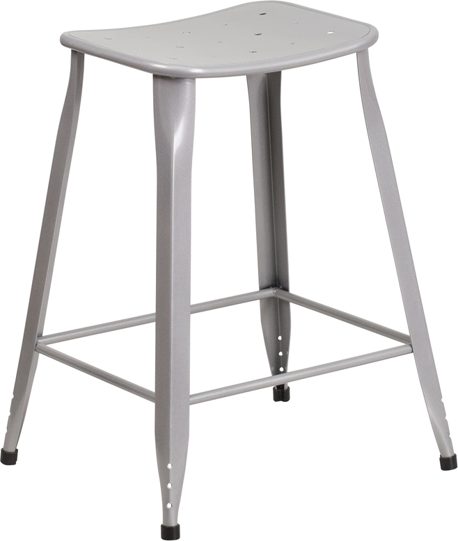 ERGONOMIC HOME 24'' High Silver Metal Indoor-Outdoor Counter Height Stool