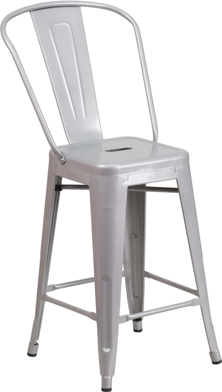 ERGONOMIC HOME 24'' High Silver Metal Indoor-Outdoor Counter Height Stool with Back