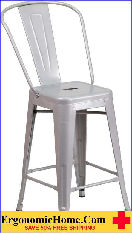ERGONOMIC HOME 24'' High Silver Metal Indoor-Outdoor Counter Height Stool with Back|<b><font color=green>50% Off Read More Below...</font></b></font></b>