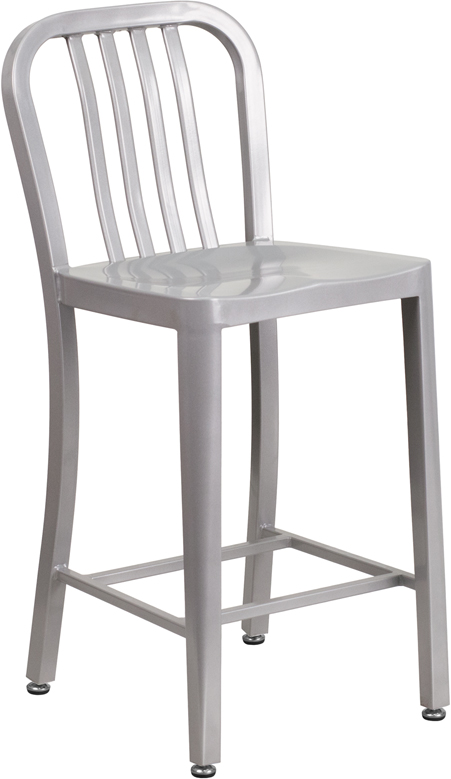 ERGONOMIC HOME 24'' High Silver Metal Indoor-Outdoor Counter Height Stool with Vertical Slat Back