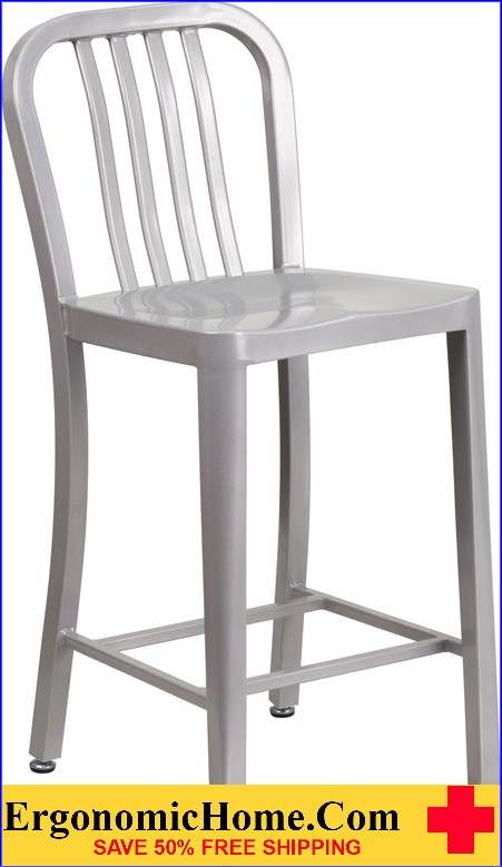 ERGONOMIC HOME 24'' High Silver Metal Indoor-Outdoor Counter Height Stool with Vertical Slat Back|<b><font color=green>50% Off Read More Below...</font></b></font></b>