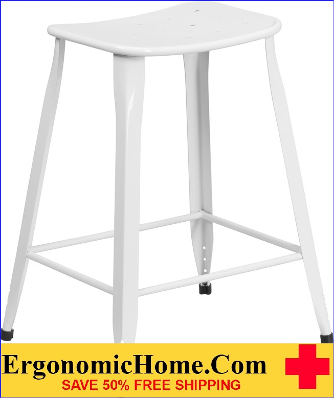 ERGONOMIC HOME 24'' High White Metal Indoor-Outdoor Counter Height Stool <b><font color=green>50% Off Read More Below...</font></b>