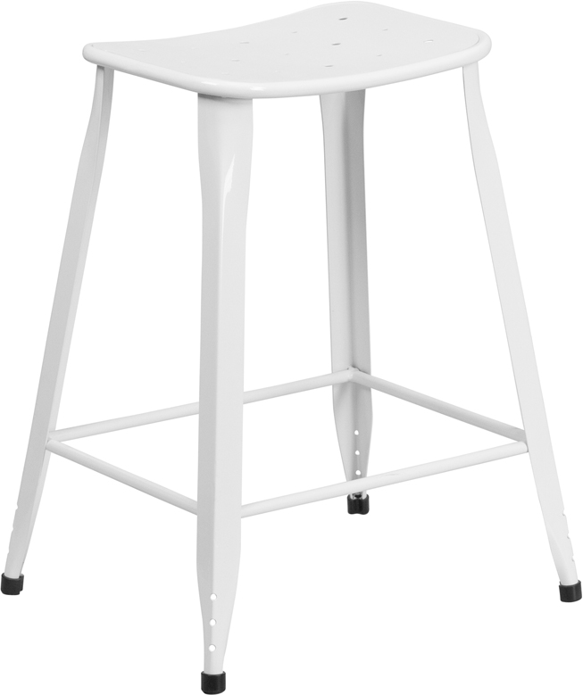 ERGONOMIC HOME 24'' High White Metal Indoor-Outdoor Counter Height Stool