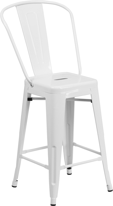 ERGONOMIC HOME 24'' High White Metal Indoor-Outdoor Counter Height Stool with Back