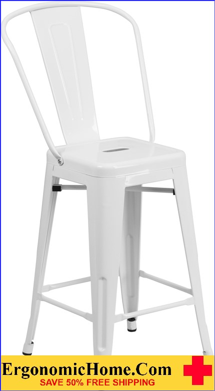 ERGONOMIC HOME 24'' High White Metal Indoor-Outdoor Counter Height Stool with Back|<b><font color=green>50% Off Read More Below...</font></b></font></b>