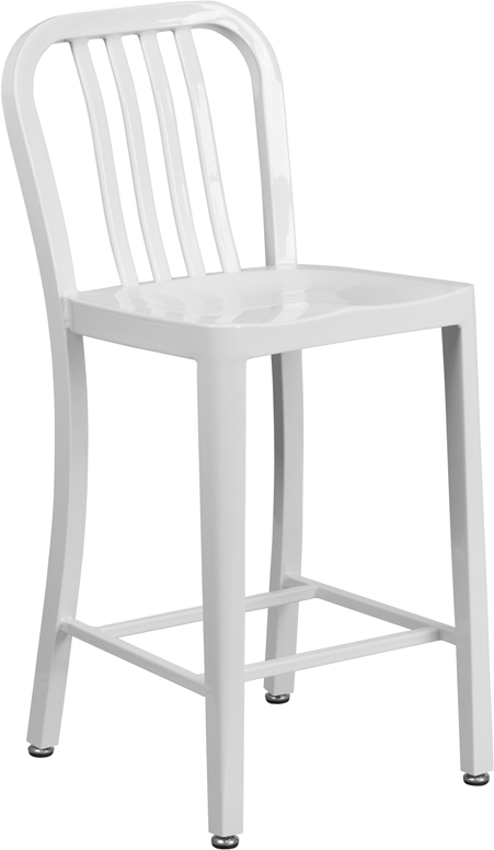 ERGONOMIC HOME 24'' High White Metal Indoor-Outdoor Counter Height Stool with Vertical Slat Back