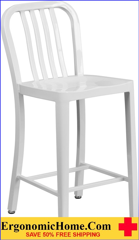 ERGONOMIC HOME 24'' High White Metal Indoor-Outdoor Counter Height Stool with Vertical Slat Back|<b><font color=green>50% Off Read More Below...</font></b></font></b>