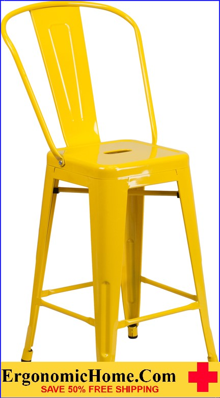 ERGONOMIC HOME 24'' High Yellow Metal Indoor-Outdoor Counter Height Stool with Back|<b><font color=green>50% Off Read More Below...</font></b></font></b>