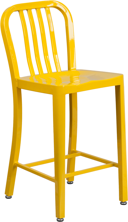 ERGONOMIC HOME 24'' High Yellow Metal Indoor-Outdoor Counter Height Stool with Vertical Slat Back
