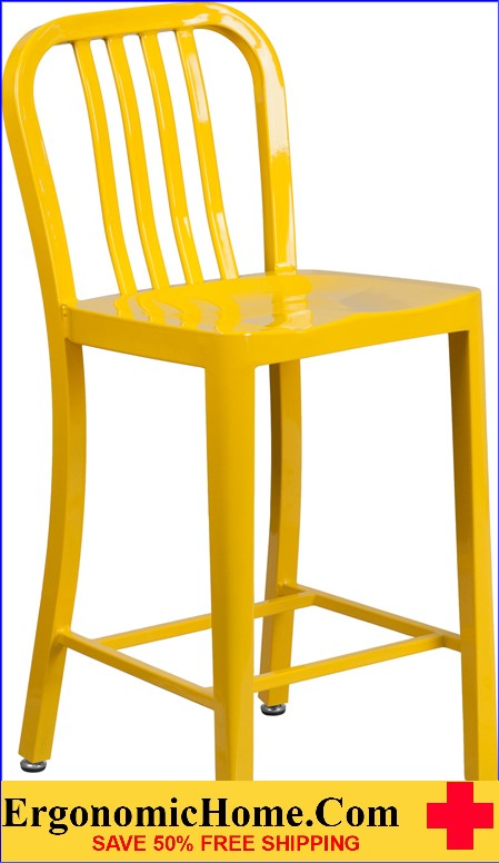 ERGONOMIC HOME 24'' High Yellow Metal Indoor-Outdoor Counter Height Stool with Vertical Slat Back|<b><font color=green>50% Off Read More Below...</font></b></font></b>