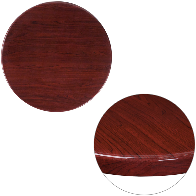 ERGONOMIC HOME 24'' Round Resin Mahogany Table Top