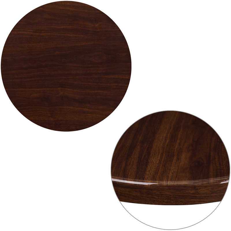 ERGONOMIC HOME 24'' Round Resin Walnut Table Top