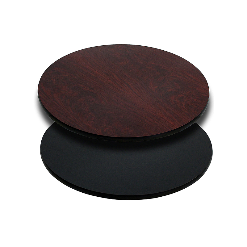 ERGONOMIC HOME 24'' Round Table Top with Black or Mahogany Reversible Laminate Top