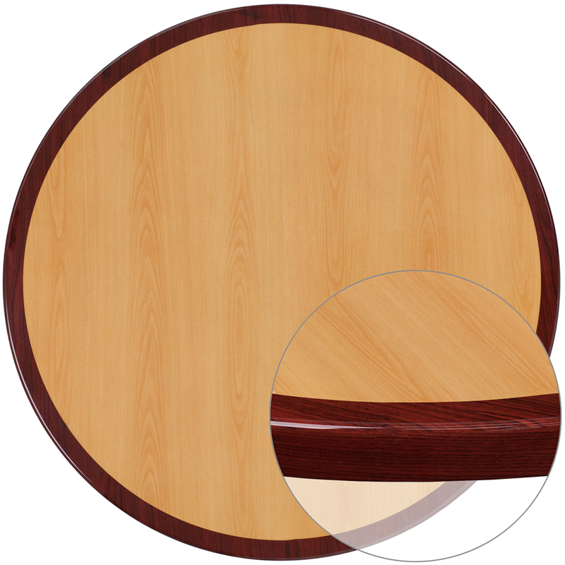 ERGONOMIC HOME 24'' Round Two-Tone Resin Cherry and Mahogany Table Top