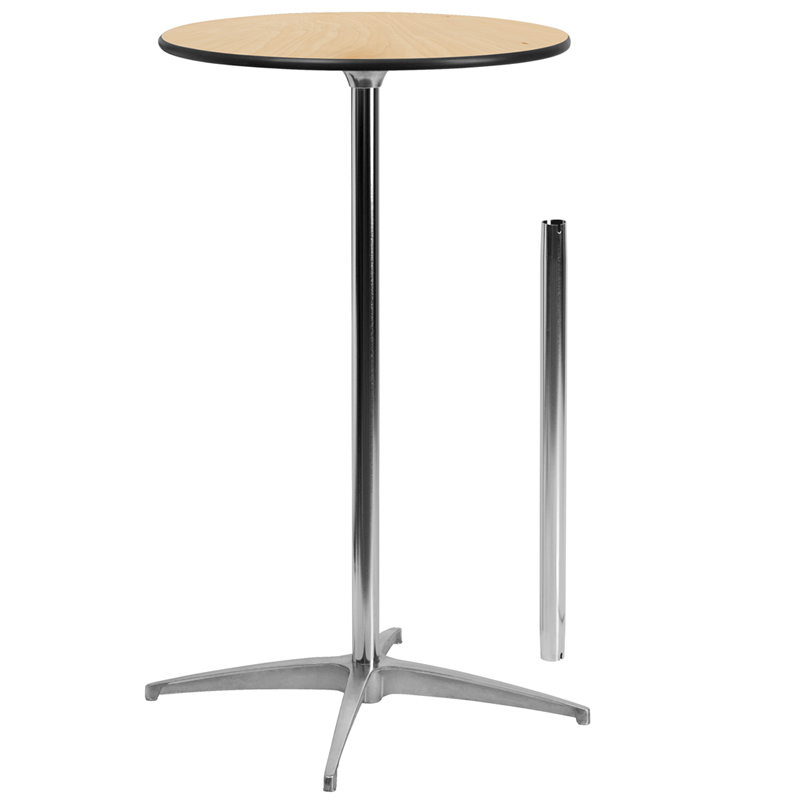 ERGONOMIC HOME 24'' Round Wood Cocktail Table with 30'' and 42'' Columns