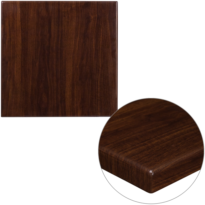 ERGONOMIC HOME 24'' Square Resin Walnut Table Top