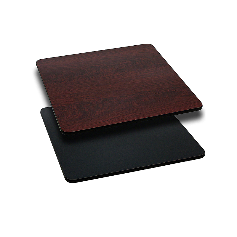 ERGONOMIC HOME 24'' Square Table Top with Black or Mahogany Reversible Laminate Top