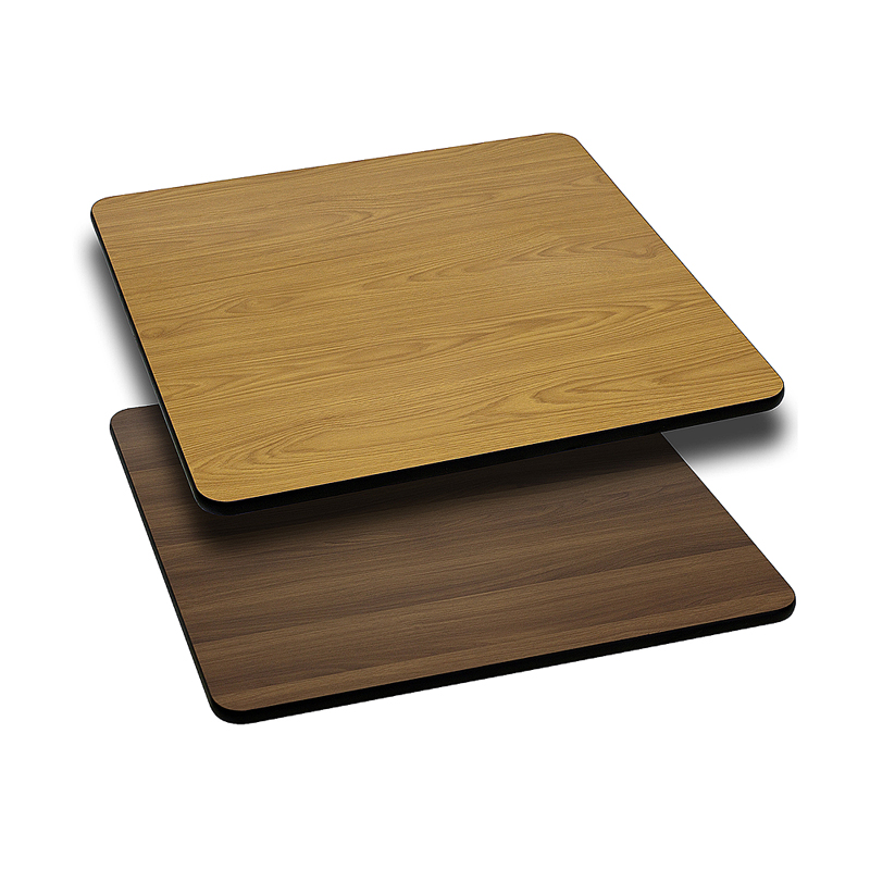 ERGONOMIC HOME 24'' Square Table Top with Natural or Walnut Reversible Laminate Top