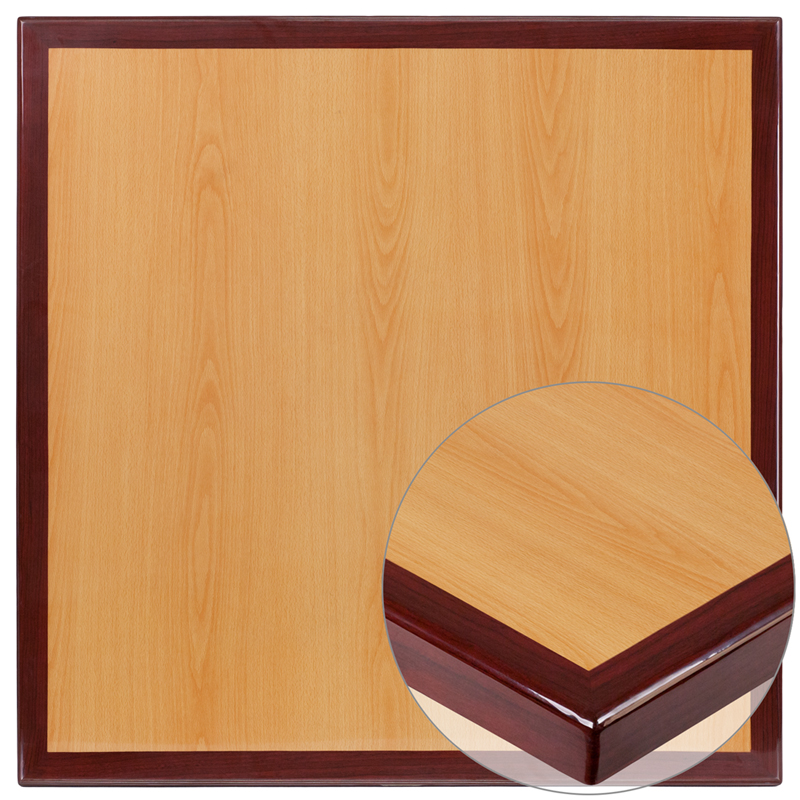ERGONOMIC HOME 24'' Square Two-Tone Resin Cherry and Mahogany Table Top